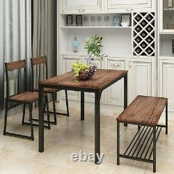 4 Piece Dining Set with 2 Chairs and Bench for Kitchen Table Set Computer Desk