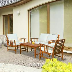 4 Piece Outdoor Patio Furniture Sofa Set Wood Coffee Table and Chair Clearance