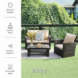 4 Pieces Sectional Sofa Outdoor Patio Furniture Sets Rattan Chair Wicker Set