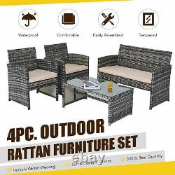 4pc Wicker Patio Furniture Set with 2 Chairs Sofa Glasstop Table Charcoal Beige