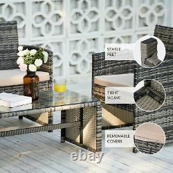 4pc Wicker Patio Furniture Set with 2 Outdoor Chairs Sofa & Table Charcoal Beige