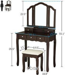 5 Drawers Cosmetics Storage Vanity Set Makeup Vanity Table with Cushioned Bench