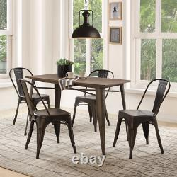 5 PC Dining Set Wood Metal Table and 4 Chairs Kitchen Furniture for Dinning Room