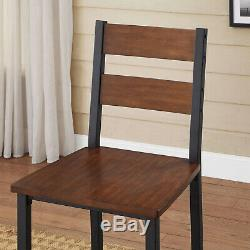 5-Piece DINING SET COUNTER HEIGHT Table 4 Chairs Metal Vintage Oak Kitchen Home
