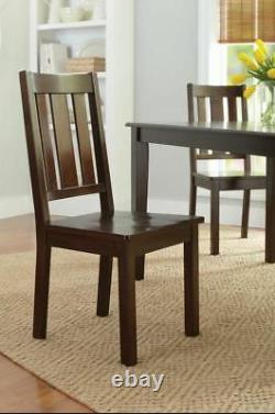 5 Piece Dining Table Set Mission Farmhouse 4 Chairs Kitchen Dinette Wood Brown