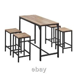 5 Piece Wood Dining Table Set with4 Chairs Bar Breakfast Kitchen Home Furniture US