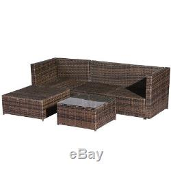 5PCS Outdoor Furniture Sofa Set Rattan Patio Wicker Rattan WithStorage Box Table