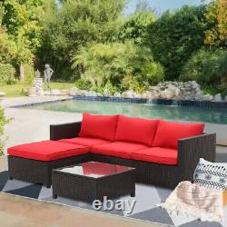 5PCS Outdoor Patio Rattan Wicker Sectional Furniture Conversation Sofa Set Red