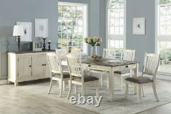 6 Pc Country Farmhouse Antique White Storage Dining Table Bench Furniture Set