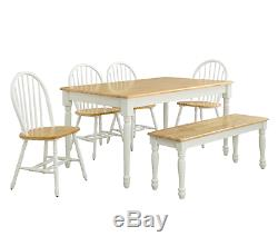 6 Pc Dining Set Farmhouse Wood Table Bench Chairs Country Room Kitchen White Oak