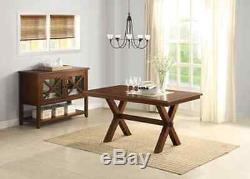 6 Pc Dining Set Farmhouse Wood Table Bench Chairs Room Maddox Kitchen, Brown
