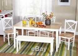 6 Pc White Dining Set Kitchen Room Table Chairs Bench Wood Furniture Tables Sets