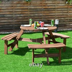 6 Person Patio Wood Picnic Table Beer Bench Set Pub Dining Seat Garden