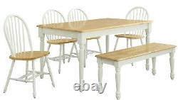 6-Piece Dining Room Set Country Table Chairs With Bench Farmhouse Kitchen New