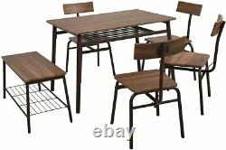 6 Piece Dining Table Set 4 Chairs Bench Kitchen Room Breakfast Furniture + Shelf