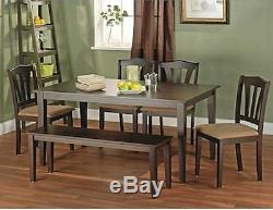 6 Piece Dining Table Set Small Dinette Kitchen Bench Chairs Wood Furniture Brown