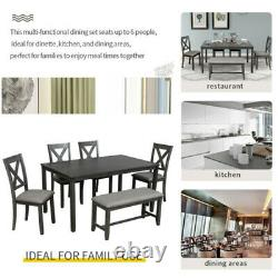 6-Piece Kitchen Dining Table Set Rectangular Dining Table + 4 Dining Chairs New