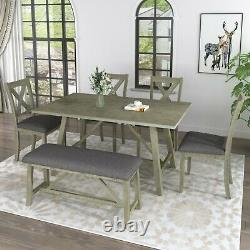 6 Piece Wooden Dining Table Set Rustic Style Kitchen Table with 4 Chairs and Bench