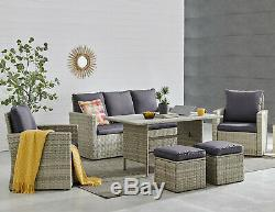 6-Pieces Outdoor Dining Table Set Wicker Rattan Patio Garden Bench +Cushion Seat