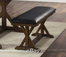 6 pc Aged Brown Ash Finish Table Chairs Bench Dining Set Wood Kitchen Furniture