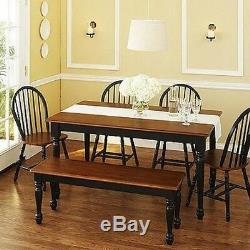 6 pc Black Dining Set Dinette Sets Bench Chair Table Kitchen Furniture Chairs
