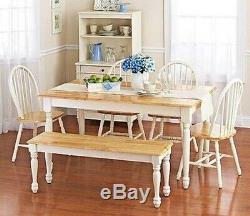 6 pc White Dining Set Dinette Sets Bench Chair Table Kitchen Room Chairs Oak