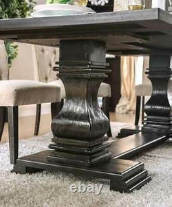 6 piece Dining Room Furniture Set Rectangular Black Table & Beige Chairs ICCG