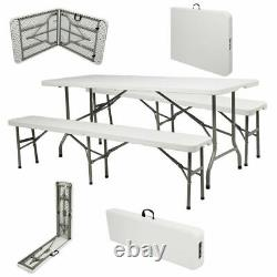 6FT Foldable Camping Picnic Table With 2 Long Bench Chair Seat Portable Set Garden