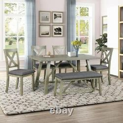 6PCS Set Solid Wood Dining Table and Chair Kitchen 4 Chairs+1 Bench Rustic Style