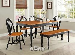 6PCS Solid Wooden Dinette Table Set 4 Dining Chairs Bench Country Farm Black Oak