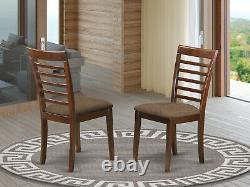 6pc set Capri table with 4 Milan leather chairs + 1 wood seat bench in mahogany