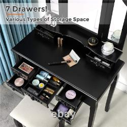 7 Drawers Vanity Table Set Makeup Dressing Table With Bench & Tri-Folding Mirror