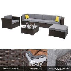 7 PCS Patio Furniture Couch Outdoor Wicker Rattan Cushioned Sofa Sectional Set