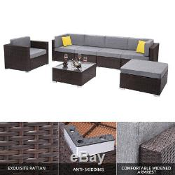 7 Pcs Outdoor Furniture Rattan Wicker Sofa Patio Couch Set with Ottoman