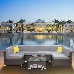 7PCS Multiple Combinations Outdoor Patio Furniture Couch Wicker Rattan Sofa