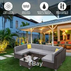 7PCS Outdoor Patio Furniture Couch Wicker Rattan Cushions Sofa Sectional