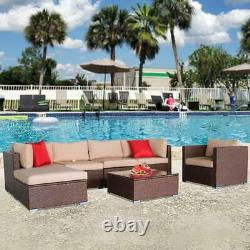7PCS Outdoor Wicker Sofa Set Patio Rattan Sectional Furniture Garden Deck Couch