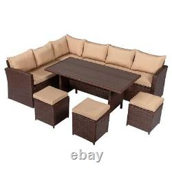 8 PCS Patio Rattan Dining Set Sectional Sofa Couch Ottoman Outdoor Livingroom US