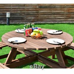 8 Seat Wood Picnic Table Beer Dining Seat Bench Set Ideal for Garden Yard Picnic