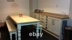 8ft (244cm) Painted base farmhouse table And Bench Set
