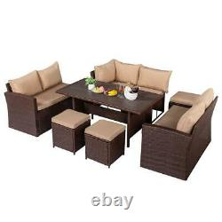 9 Seats Patio Rattan Dining Sofa Set Cushioned Chairs Ottoman Table Furniture