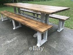 9ft Rustic Farmhouse Table with Long Benches Dining Set, Banquet Table