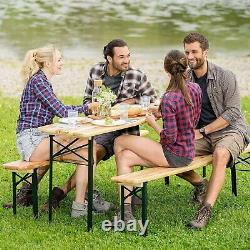 Adults/Kids Wooden Folding Picnic Beer Table Bench Set Patio Outdoor Garden