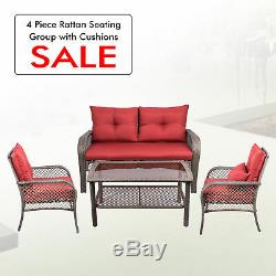 All Weather Outdoor Patio Chairs with Cushions PE Rattan Furniture Set 4 PCs