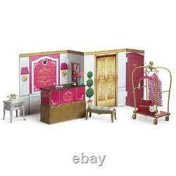American Girl Grand Hotel Complete Set Bed Dresser Table Bench Phone Towels ++