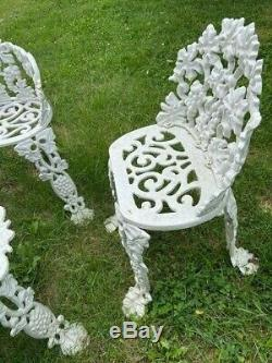 Antique Cast Iron Patio Set Bench Settee, Chairs And Accent Table Grapevine