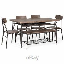 BCP 6-Piece Modern Dining Set with Storage Racks, Table, Bench, 4 Chairs Brown