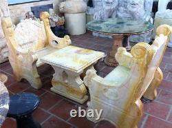 BEAUTIFUL Marble Table and 2 Chair Bench Set Indoor / Outdoor from VIETNAM