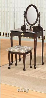 Beautiful Espresso Finish Wood Vanity Set TABLE WITH MIRROR AND BENCH