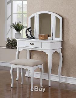Bedroom Tri-Folding Mirror Wooden Makeup Vanity Table Drawer Set with Bench White